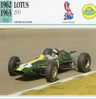 Lotus 25 F1 Grand Prix (1962) - Voiture De Course - Jim Clark -  Fiche Technique/Carte De Collection - Grand Prix / F1