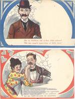 2 Cpa Fantaisie :  Homme / Femme, Humour - Fantaisies