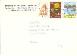 Yougoslavie 1966 - Lettre De Ljubljana à Reggio, Italie - Institut D'Agriculture De Slovénie - YT 852/1015/1022 - 1945-1992 République Fédérative Populaire De Yougoslavie
