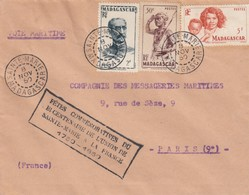 LETTRE COVER. MADAGASCAR. 1950. COMPAGNIE DES MESSAGERIES MARITIMES. BICENTENARE UNION STE MARIE FRANCE - Stamps