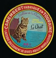 étiquette Fromage Camembert  Le Chat Jardin De La France  Vallée De La Claise Laiterie Du Couvent De Rives Abilly Indre - Fromage