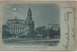 ST PETERSBOURG  MONUMENT DE CATHERINE II ET THEATRE D'ALEXANDRE  EN 1898 - Russie