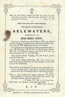 DP PETRUS AELEWATERS Weduwenaer ANNA BAENS - MECHELEN 1784- 1863 - Images Religieuses