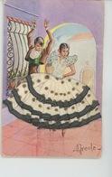 FEMMES - FRAU - LADY - Jolie Carte Fantaisie Brodée Danseurs Espagnols - Embroidered