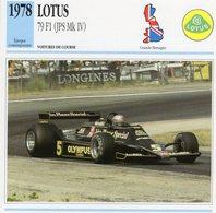 Lotus 79 F1 Grand Prix (1978) - Voiture De Course - Mario Andretti -  Fiche Technique/Carte De Collection - Grand Prix / F1