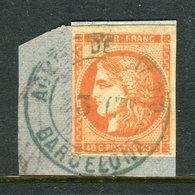 Rare N° 48 Cachet Admon De Cambio Bleu De Barcelona Sur Fragment - Timbre TB - 1870 Emission De Bordeaux
