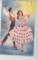 FEMMES - FRAU - LADY - Jolie Carte Fantaisie Brodée Danseurs Espagnols BAILES ANDALUCES - 112 - Embroidered
