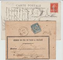 """Convoyeur: """" SOUILLAC A CAPDENAC & A BRIOUDE """"  Type I & II / LAC Et CPA De 1886 & 1909 B/TB - Marcophilie (Lettres)"""
