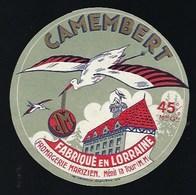 """étiquette Fromage Camembert Fabriqué En Lorraine  Fromagerie Marizien Ménil La Tour """"JM"""" Cigognes - Fromage"""