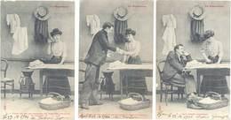 Série 10 CPA Fantaisies – La Repasseuse ( Fer à Repasser ) - Fancy Cards