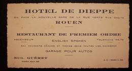 ANCIENNE CARTE DE VISITE DE L'HOTEL DE DIEPPE A ROUEN - Visiting Cards