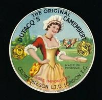 """étiquette Fromage Camembert Fabriqué En Normandie The Original Dutacq's Camembert Crowson & Son LTD Londres """"femme"""" - Fromage"""