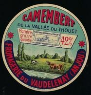 """étiquette Fromage Camembert De La Vallée Du Thouet Fromagerie Du Vaudelenay Anjou """"vaches"""" - Fromage"""