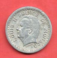 1 Franc , MONACO , Louis II , Non Daté ( 1943 ) , Aluminium , N° Gadoury: 131 - 1922-1949 Louis II