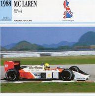 McLaren MP4/4  F1 Grand Prix (1988) - Voiture De Course - Ayrton Senna -  Fiche Technique/Carte De Collection - Grand Prix / F1