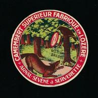 """étiquette Fromage Camembert Supérieur Fabriqué En Lozère Arnal Sevene Serverette """"le Corbeau Et Le Renard"""" - Fromage"""