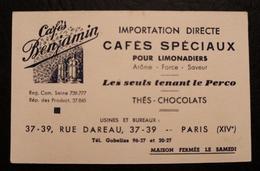 ANCIENNE CARTE DE VISITE CAFES BENJAMIN PARIS - Visiting Cards