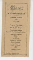 MENU - Joli Menu Du 22 Janvier 1927 - Banquet Amical Pour La SAINT VINCENT à MONTLOUIS (près TOURS - 37 ) - Menus