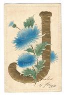 CP : Lettre J - Alphabet - Gaufrée Dorée - Fancy Cards