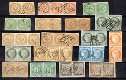 Colonies Générales Belle Collection De Timbres En Paires Et Bandes De Trois Obl. 1863/1890. A Saisir! - France (ex-colonies & Protectorats)