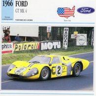 Ford GT Mk IV  (1966) - Voiture De Course  -  Fiche Technique/Carte De Collection - Le Mans