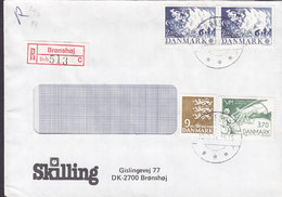 Denmark SKILLING Registered Einschreiben Label Brotype IId BRØNSHØJ 1984 Cover Brief Europa CEPT Billiards Cz. Slania - Briefe U. Dokumente