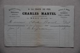 Facture A La Croix De Fer Charles Martel, Quincaillerie, Articles De Ménage à Méru (Oise), 1896 - France