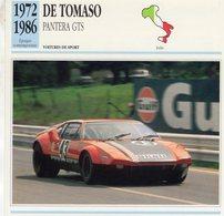 De Tomaso Pantera GTS  (1973) - Voiture De Course  -  Fiche Technique/Carte De Collection - Le Mans