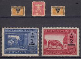 Prämienmarken Für Textilwaren +Trinkbranntwein, Brotmarke + 2 Frauenwerk-Marken - Besetzungen 1938-45