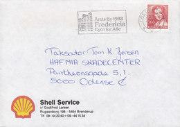 Denmark SHELL SERVICE Brenderup Slogan Flamme 'Årets By' FREDERICIA 1986 Cover Brief - Briefe U. Dokumente