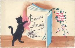 CPA Fantaisies, Bonne Année, Ajoutis Plume Rose, Livre & Chat Noir En Feutrine - Fantaisies