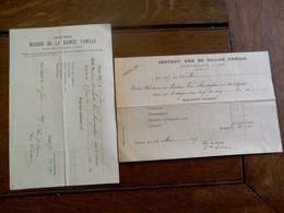 2 Stuks             Oude Fakturen  1907  Gesticht Van De Heilige Familie  GENT - Belgique