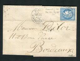 Belle Lettre De Paris Pour Bordeaux Avec Un N° 60 - Variété 96 Suarnet - 1871-1875 Ceres