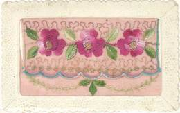 CPA Fantaisies, Brodée – Fleurs Roses - Embroidered