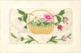 CPA Fantaisies, Brodée – Panier De Fleurs - Embroidered