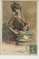 FEMMES - FRAU - LADY - Jolie Carte Fantaisie Portrait Femme Et Fillette - Women
