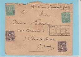 """CHARENTE Mme: """" St JEAN D'ANGELY / LSC CHARGEE De 1892 Pour St Ciers La Lande TB - Marcophilie (Lettres)"""
