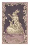 CP : Lapin Humanisé Dans Oeuf Transformée En Barque, Rame : Gaufrée Relief Dorée - Fancy Cards