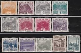 Osterreich      .   Yvert   .      378/389     .    *    .  Ungebraucht Mit Falz    .   /  .     Mint-hinged - 1918-1945 1. Republik