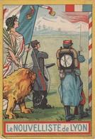 Calendrier : Petit Format Publicitaire :le Nouvelliste De Lyon : Militaria Année 1914 -( Format 4,8cm X 8,7cm ) 2 Volets - Calendriers