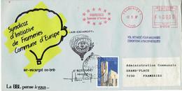 """Frameries : Pli Humoristique """"ayant Voyagé Par Air-Escargot + Vol Retardé Pour Mauvaises Conditions..."""" 12/9/87 - Marcophilie"""