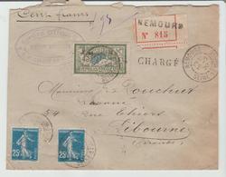 """SEINE & Mne : """" NEMOURS """" / LSC CHARGEE De 1920 Pour Libourne TB - Marcophilie (Lettres)"""