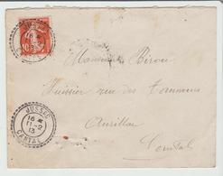 """CANTAL : """" JUSSAC """" CàD Type B3 / LSC De 1913 Pour Aurillac TB - Marcophilie (Lettres)"""