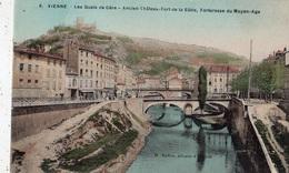 VIENNE LES QUAIS DE GERE ANCIEN CHATEAU-FORT DE LA BATIE FORTERESSE DU MOYEN-AGE (CARTE COLORISEE) - Kroatien