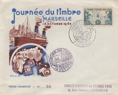 LETTRE COVER. FRANCE. 1945. JOURNEE DU TIMBRE MARSEILLE - Stamps