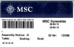ITALIA KEY CABIN  MSC SPLENDIDA  Crociere (Shipping Company) - Cartes D'hotel