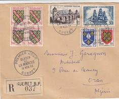 LETTRE COVER. FRANCE. 1955. PREMIER JOUR GUERET BLASON DE LA MARCHE - Stamps