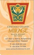 TAILANDIA KEY HOTEL Centre Grand Mirage Beach Resort Pattaya - Hotel Keycards