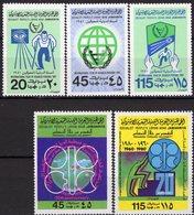 Erdöl-Lieferung OPEC 1980 Libya 842/3+857/9 ** 5€ Behinderte Vertragsländer Emblem WHO Maps Energy Sets Bf Erdkugel - Usines & Industries