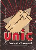 Calendrier : Petit Format Publicitaire : UNIC : La Chemise De L'homme Chic -1955 ( Format 10,8cm X 7,9cm ) 2 Volets - Calendriers